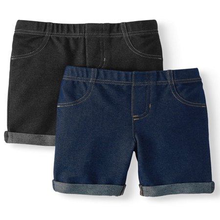 Girls Belted Denim Bermuda - 365 Kids From Garanimals Knit Denim Bermuda Shorts, 2-Pack (Little Girls & Big Girls)