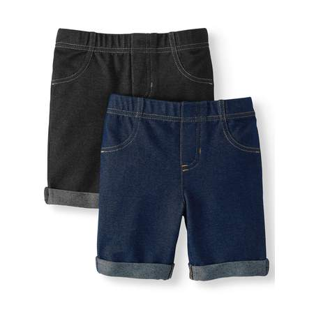 365 Kids From Garanimals Knit Denim Bermuda Shorts, 2-Pack (Little Girls & Big Girls)