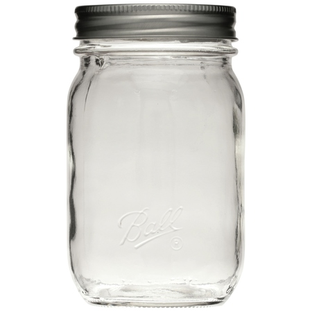 Ball Smooth-Sided Glass Mason Jar w/ Lid & Band, Regular Mouth, 16 ounces, 12 Count - Mini Mason Jars In Bulk