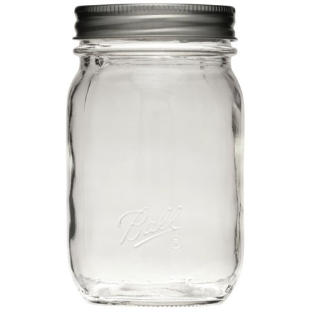 Ball Smooth Glass Mason Jar w/ Lid & Band, Regular Mouth, 16 ounces, 12 Count - Mason Jar Mini