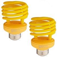 SleekLighting 23 Watt T2 YELLOW Bug Light Spiral CFL Light Bulb, 120V, E26 Medium Base-Energy Saver (Pack of 2)