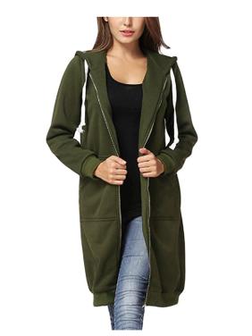 Women's Casual Zip Up Hoodie Coat for Women, Black / Green / Gray Solid Color Long Jacket for Juniors, S-2XL