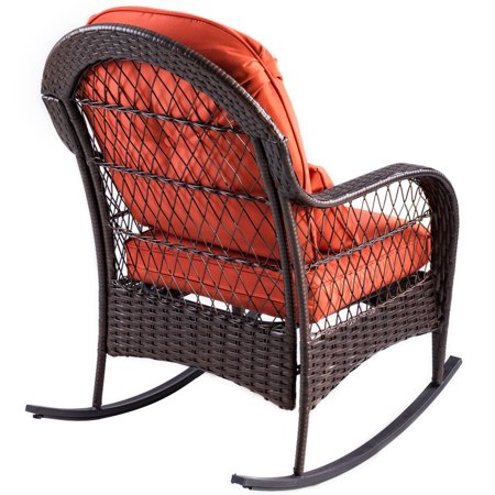 Gymax Patio Rattan Wicker Rocking Chair Porch Deck Rocker Outdoor Furniture W/ Cushion - image 7 of 10