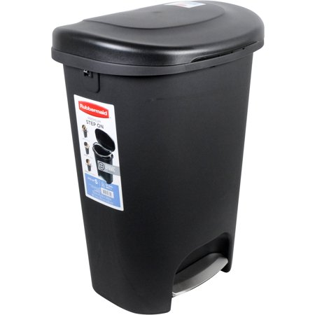 Trash Cans Step (Rubbermaid 2007867 13 Gallon Black Step-On Trash Can )