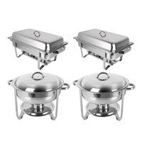 Zimtown 2 Round & 2 Rectangular Chafing Dish Full Size Upgraded Stainless Steel Buffet Catering Warmer Set with Food and Water Trays, Mirror Cover, Thick Stand Frame for Kitchen Party Banquet