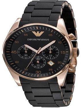 Emporio Armani Men's Black Silicone Band Steel Case Quartz Chronograph Watch 43mm AR5905