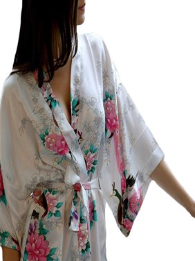 Medium Length Womens Robes, Sizes 2 to 20, Bride & Bridesmaid Robe - Floral Lightweight Sleepwear