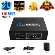 Ultra HD 4K 2 Port HDMI Splitter 1x2 Repeater Amplifier HUB 1080P 3D 1 In 2 Out Splitters HDMI Switcher