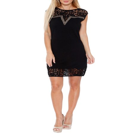 Women's Women's Lace Trim Mini Dress - Tween Black Dress