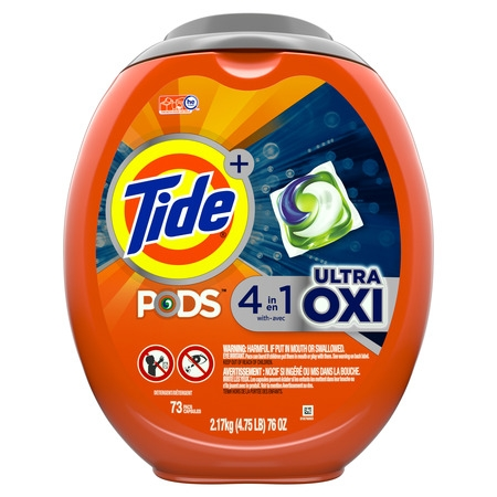 Tide PODS Ultra Oxi Liquid Laundry Detergent Pacs, 73 count