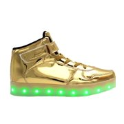 bf5affb37dc6 Galaxy LED Shoes Light Up USB Charging High Top Strap   Lace Women s  Sneakers (Gold