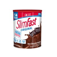 SlimFast Original Meal Replacement Shake Mix Powder, Rich Chocolate Royale, 12.83oz, 14 servings