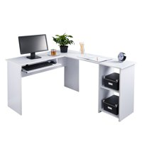 White desk office Executive Product Image Fineboard Lshaped Office Corner Desk Side Shelves White Walmart Corner Lshaped Desks Walmartcom