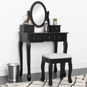 f25e4f8e5ed Best Choice Products Makeup Cosmetic Beauty Vanity Dressing Table Set w   Oval Mirror
