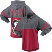 c4c4083c0 Florida State Seminoles Women's Pom Pom Jersey Oversized Fit Long Sleeve  Hooded T-Shirt -
