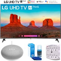 "LG 55UK7700PUD 55"" Class 4K HDR Smart LED AI UHD TV w/ThinQ (2018) + Google Home Mini - Chalk + LED TV Screen Cleaner + SurgePro 6-Outlet Surge Adapter w/ Night Light"
