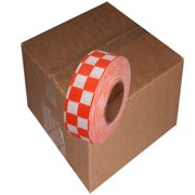 12 Roll Case of Orange and White Checkerboard Flagging Tape 1 3/16 inch x 300 ft Non-Adhesive