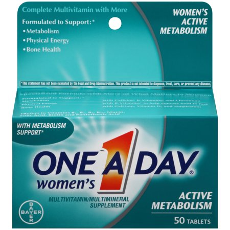 One A Day Womenâs Active Metabolism Multivitamins, Supplement with Vitamins A, C, E, B2, B6, B12, Iron, Calcium and Vitamin D, 50