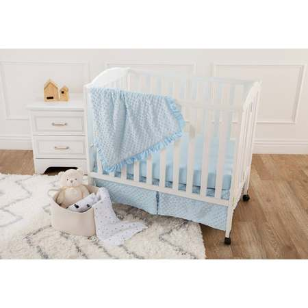 American Baby Company Heavenly Soft Minky Dot 3-Piece Mini/Portable Crib Bedding Set, Blue, for Boys and Girls](Panda Bear Baby Bedding)