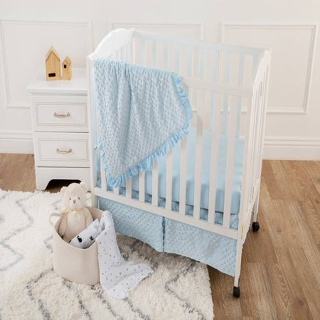 American Baby Company Heavenly Soft Minky Dot 3-Piece Mini/Portable Crib Bedding Set, Blue, for Boys and -