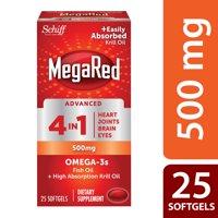 MegaRed Advanced 4 in 1 Omega-3 Fish Oil + Krill Oil Softgels, 500 Mg, 25 Ct