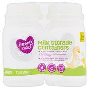 Parent's Choice Milk Storage Containers, 0+ Months, 5 fl oz, 4 Pack