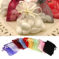 Heepo 50 Pcs Organza Jewelry Gifts Drawable Box Wedding Gift Candy Mini Pouch Bag