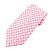 Men's X-Long Pink Gingham Pattern Tie
