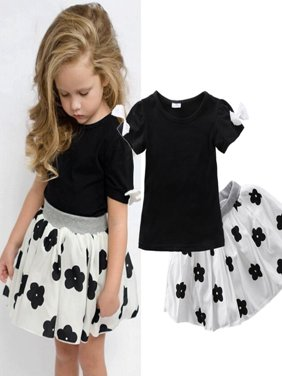 2pcs Baby Girls Clothes Set Summer Short Sleeve and Tutu Skirt Outfit Little Girl Set