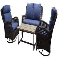 Better Homes & Gardens Ravenbrooke 4-Piece Patio Conversation Set with Blue Cushions