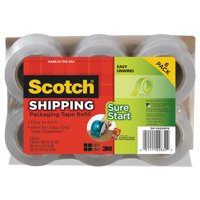 Scotch Sure Start Shipping Packaging Tape 6 Pack, 1.5in. Core