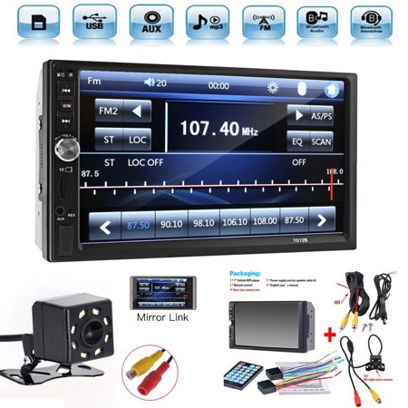 "2 Din 7"" Touch Screen Bluetooth Car MP5 Video Player FM Radio Audio Stereo Car Video Player+HD Camera"