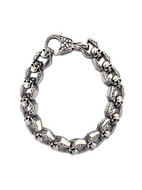 Product Image Men's Stainless Steel Skull Link Bracelet, ...