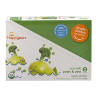 (8 Pack) Happy Baby Simple Combos, Stage 2, Organic Baby Food, Pears, Peas & Broccoli - 4 oz