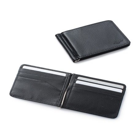 Black Cigarette Money Case (Zodaca Stylish Men's Slim Leather Bifold Wallet Purse Credit Card Holder Case with Removable Money Clip -)