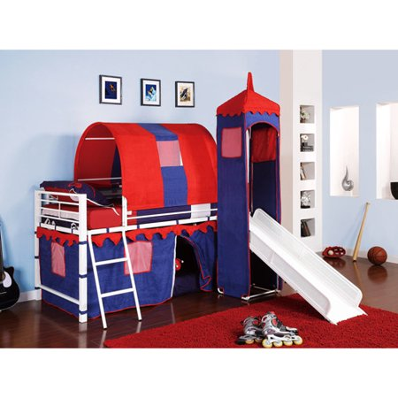 Castle Tent Twin Metal Loft Bed With Slide Amp Under Bed Storage