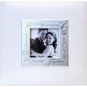 "Fabric Expressions Photo Album, 8.5"" x 8.5"", 200 Pockets, Wedding, White"