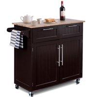 Costway Rolling Kitchen Cart Island Heavy Duty Storage Trolley Cabinet Utility Modern