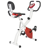 Best Choice Products Folding Adjustable Upright Exercise Cycling Bicycle for Cardio Workout, Strength Training w/ 8 Resistance Levels, 3 Seat Positions - Red