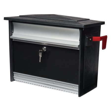 Gibraltar Mailboxes Mailsafe Locking Medium Capacity Heavy-Duty Plastic Black Wall Mount Mailbox, MSK00000 ()