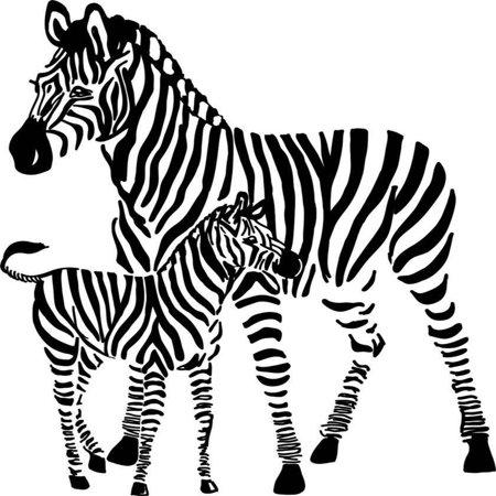 "Custom Wall Decal Zebras Animal Zoo Bedroom Living Room Sticker - Vinyl Wall 21x21"""