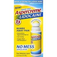 Aspercreme lidocaine odor free pain relieving liquid no mess applicator, 2.5 fl oz