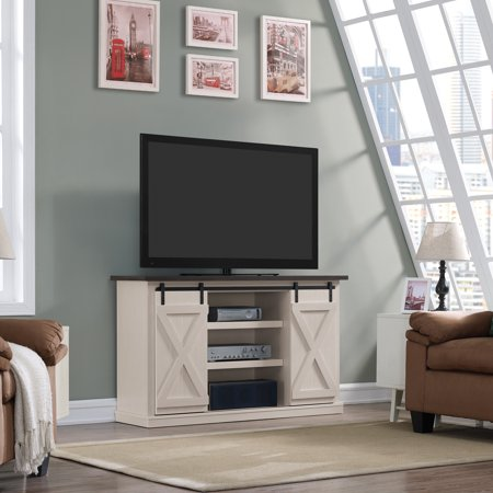 """Twin Star Home Terryville Two-Tone TV Stand for TVs up to 60"""", Old White"""