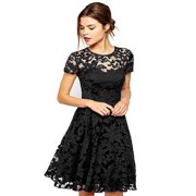 3b21b6e6c0e Babula Women Lace Cocktail Evening Party Mini Dress