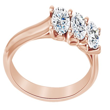 Round Cut Simulated White Moissanite Three Stone Engagement Ring In 14K Solid Rose Gold, Ring (Cut Moissanite 3 Stone Ring)