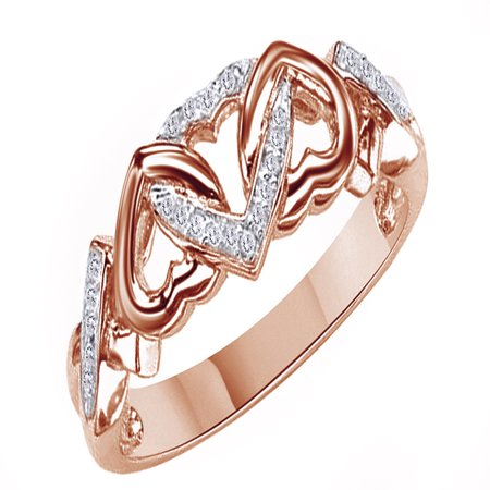 - White Natural Diamond Accent Triple Heart Promise Ring In 14k Rose Gold Over Sterling Silver (0.03 Cttw)