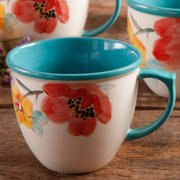 The Pioneer Woman Flea Market Floral Turquoise Solid Decorated Mug