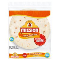 "Mission Flour 8"" Medium Soft Taco Size Tortillas, 16 ct"