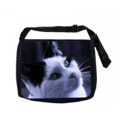 3a73ac2c9219 Black and White Kitten Black Laptop Shoulder Messenger Bag and Small Wire  Accessories Case Set