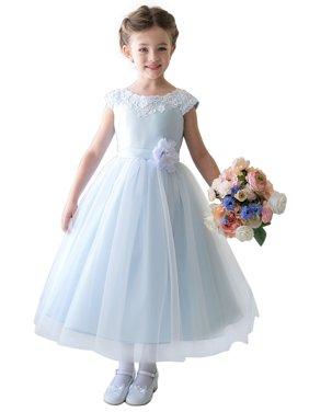 Efavormart Lustrous Satin and Tulle Dress with Crochet Trim and Flower Birthday Girl Dress Junior Flower Girl Wedding Party Dress